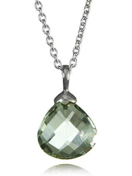 Jaipuri Quartz Drop Pendant with Chain Green Amethyst