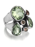 Slim Flower Cocktail Ring Green Amethyst and Smokey Quartz
