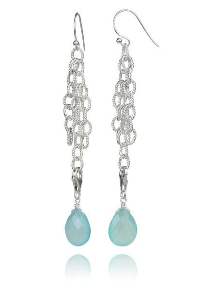 Triple Chained Quartz Drop Earrings (Aqua Chalcedony)