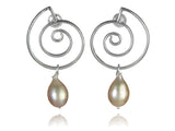 Spanish Concentric Swirl Pearl Earrings