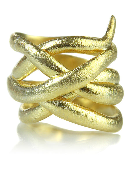 18K Gold Plated Brushed Bilbao Twist Ring