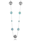 Arabesque Filigree & Stone Necklace (Aqua Chalcedony)