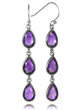 Jaipuri Three Stone Tear Drop Earrings (Amethyst)