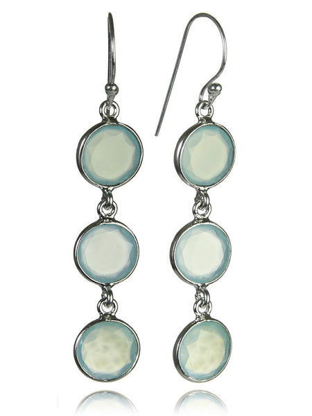 Three Circle Drop Earrings (Aqua Chalcedony)