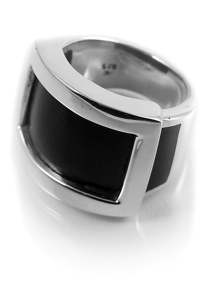 Zocalo Silver Framed Wood Ring