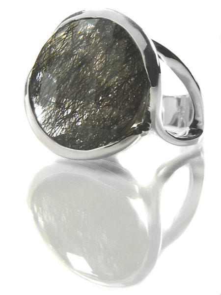 Italian Flower Stem Cocktail Ring (Black Rutile Quartz)