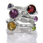 Three Stacked Band with Circle Stones (Mixed Stones)