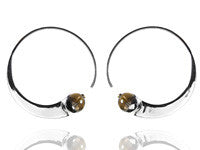 Swirly Earrings with Smoky Quartz
