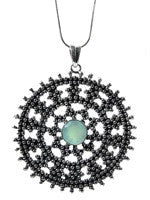 Medium Jaipuri Kundun Medallion - Oxidized (Aqua Chalcedony)