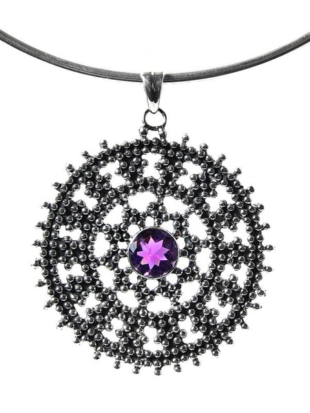Medium Jaipuri Kundun Medallion - Oxidized (Amethyst)