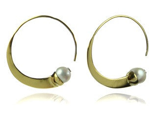 Vermeil Swirly Earrings with Stone (White Pearl)