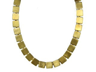 Gold Plated Cleopatra Square Necklace