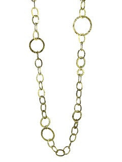Gold Plated Hammered Italian Multi Circle Necklace