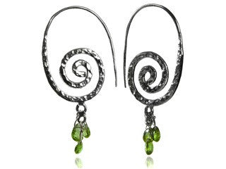 Swirly Earrings with Stone Drops (Peridot)