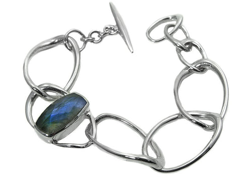Capri Isola Bracelet with faceted oval stone (Labradorite)