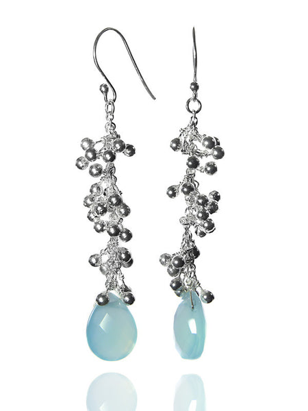 Kathak Sunburst Drops with Faceted Stone (Aqua Chalcedony)