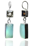 Square & Rectangular Jaipuri Earrings Drops (Smokey Quartz / Aqua Chalcedony)