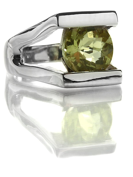 Small Faceted Circle Encased in Rectangular Ring (Lemon Topaz)