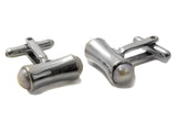 Barbell Gemstone Cufflinks (White Pearl)