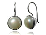Pearl Encased in Silver Hanging Studs (White)