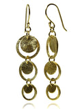 18K Gold Plated Brushed Three Circle Drop Earrings