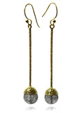 Milano 18-Kt Gold Plated Long Drops (Black Rutile Quartz)