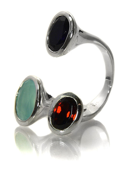 Three Circle Stone Non-Connect (Black Onyx.Aqua Chalcedony.Garnet)