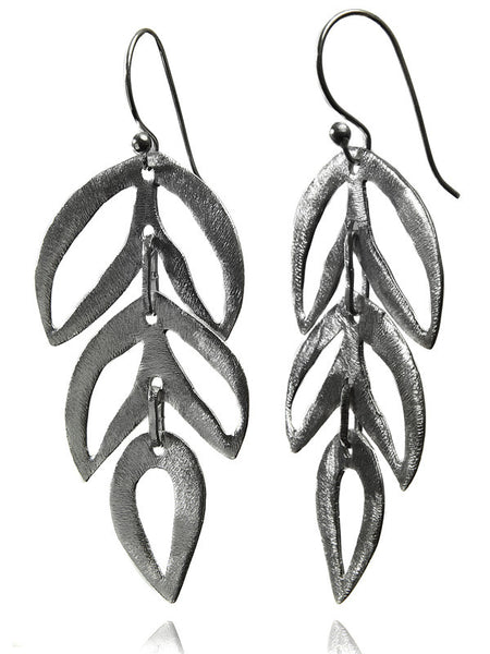 Three Tiered Brushed Leaf Earrings