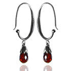Jaipuri Circular Gemstone Drop Earrings (Garnet)