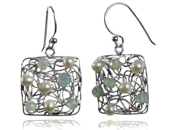 Square Mesh Gemstone Earrings
