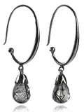 Jaipuri Circular Gemstone Drop Earrings (Black Rutile Quartz)