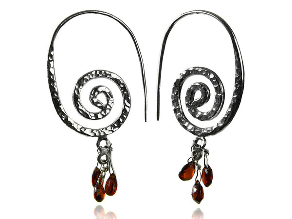 Swirly Earrings with Stone Drops (Garnet)