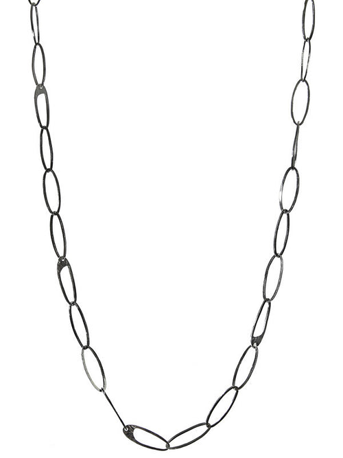 Long Oval Battered Linked Necklace