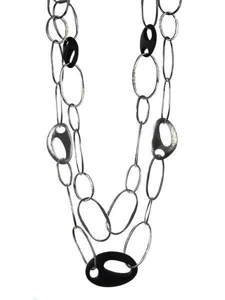 Art Deco Oval Silver and Wood Double Stranded Necklace