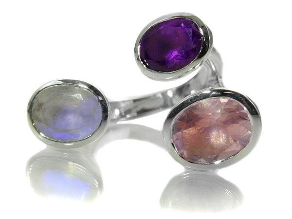 Three Circle Stone Non-Connect (White Moonstone, Rose Quartz and Amethyst)