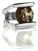 Faceted Cocktail Ring with Horizontal Stripes (Smokey Quartz)