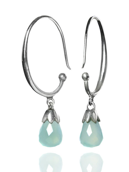 Jaipuri Circular Gemstone Drop Earrings (Aqua Chalcedony)