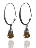 Jaipuri Circular Gemstone Drop Earrings (Smokey Quartz)