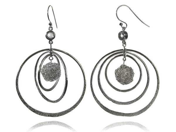 Three Orbitz Earrings with Wire Wrap