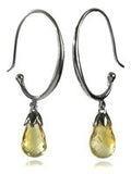 Jaipuri Circluar Gemstone Drop Earrings (Citrine)