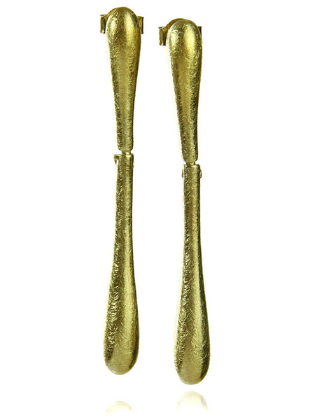 Gold Plated Satin Bilbao Large Drops