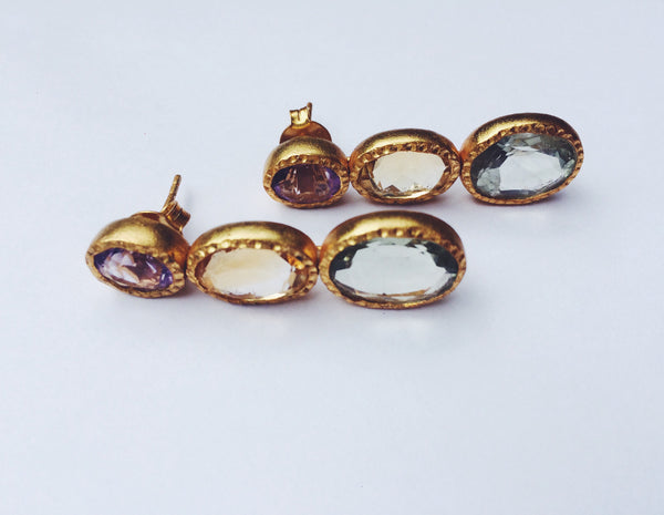 18K Gold Plated Three Stone Rani Earrings in Amethyst, Citrine and Green Amethyst