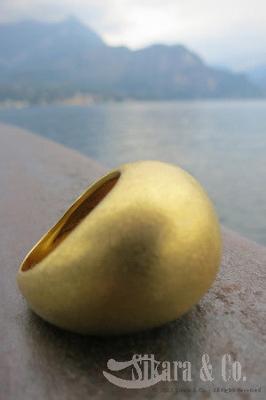 18K Gold Plated Sugar Loaf Dome Ring