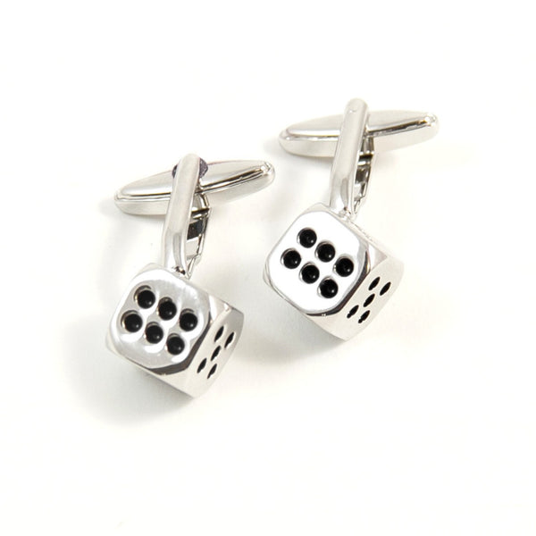 Rhodium & Enamel Dice Cufflinks