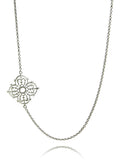 Silver Arabesque Flower Necklace with Toggle