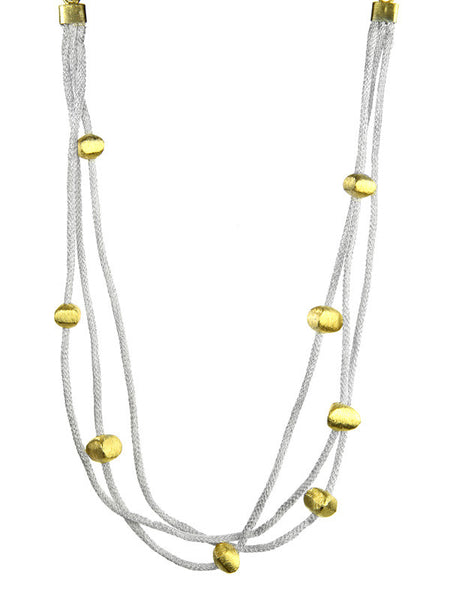Three Stranded Mesh Necklace with 18K Gold Plated Beads