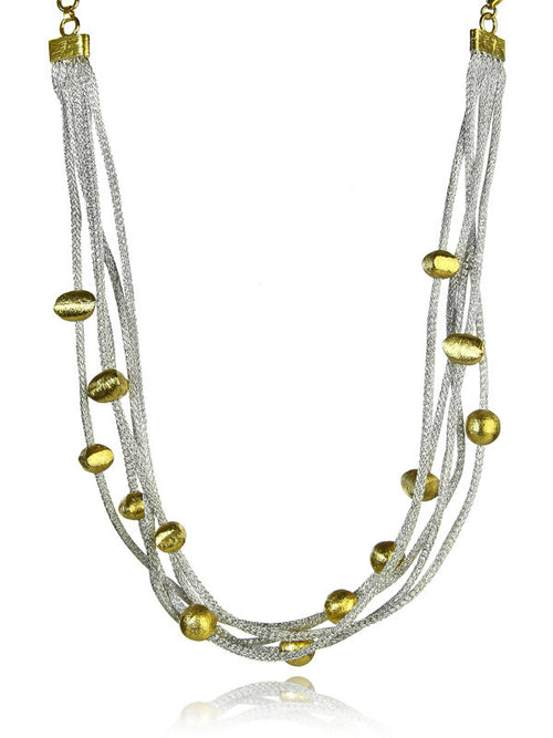 Milano Five Stranded Necklace with 18K Gold Plated Beads