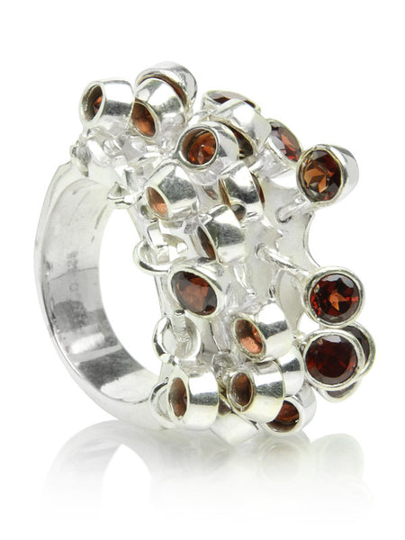 25 Stone Dangle Ring - Garnet