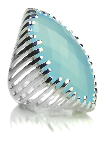 Striped Capri Cocktail Ring (Aqua Chalcedony)
