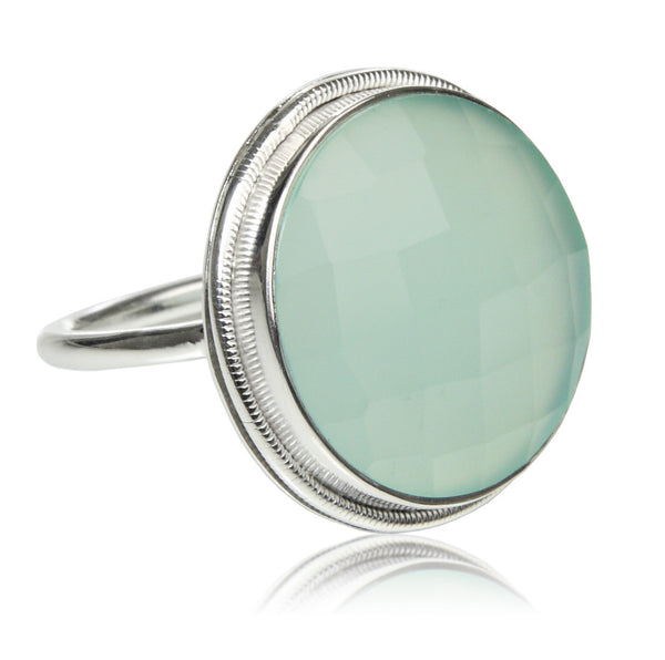 Papal Cocktail Ring - Aqua Chalcedony